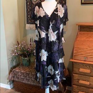 💜SL Fashions Tiered Flutter Sleeve Dress Sz 16 💜
